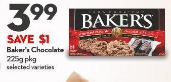 Baker's Chocolate 225g Pkg