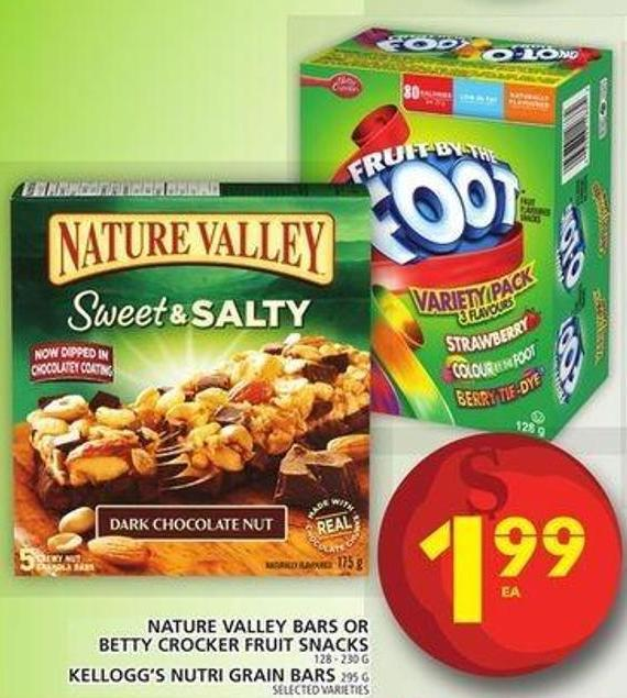 Nature Valley Bars Or Betty Crocker Fruit Snacks Or Kellogg's Nutri Grain Bars