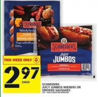 Schneiders Juicy Jumbos Wieners Or Smoked Sausages - 375-450 g