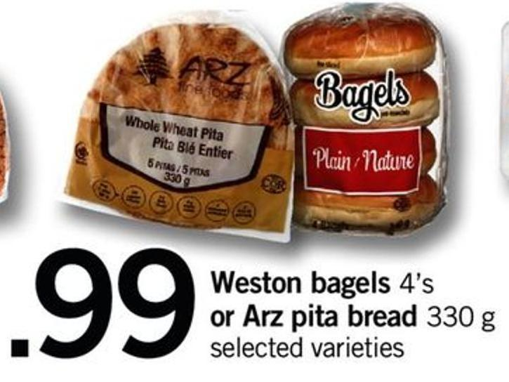 Weston Bagels 4's Or Arz Pita Bread 330 G