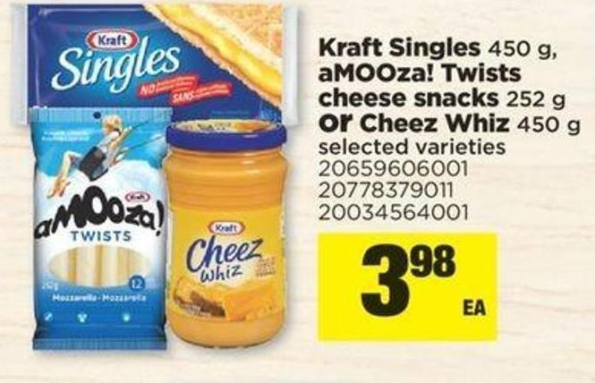 Kraft Singles 450 G - Amooza! Twists Cheese Snacks 252 G Or Cheez Whiz 450 G