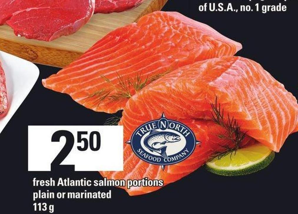 Fresh Atlantic Salmon Portions Plain Or Marinated.
