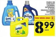 Purex Or Sunlight Laundry Detergent Or Snuggle Fabric Softener