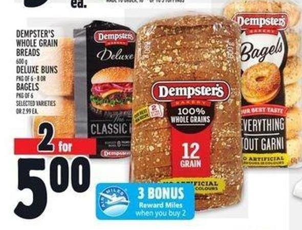Dempster's Whole Grain Breads 600 g Deluxe Buns Pkg Of 6 - 8 Or Bagels
