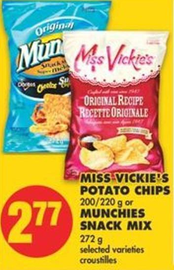 Miss Vickie's Potato Chips 200/220 G Or Munchies Snack Mix 272 G Selected Varie