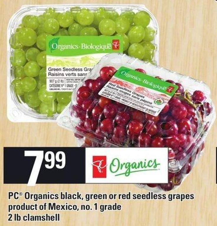 PC Organics Black - Green Or Red Seedless Grapes - 2 Lb Clamshell