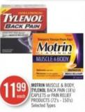 Motrin Muscle & Body - Tylenol Back Pain (18's) Caplets or Pain Relief Products (72's - 150's)