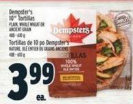 Dempster's 10in Tortillas Plain - Whole Wheat Or Ancient Grain 488 - 610 g