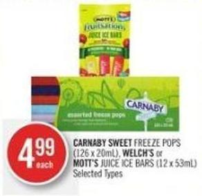 Carnaby Sweet Freeze Pops (126 X 20ml) - Welch's or Mott's Juice Ice Bars (12 X 53ml)