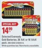 Selected Eveready Gold Batteries