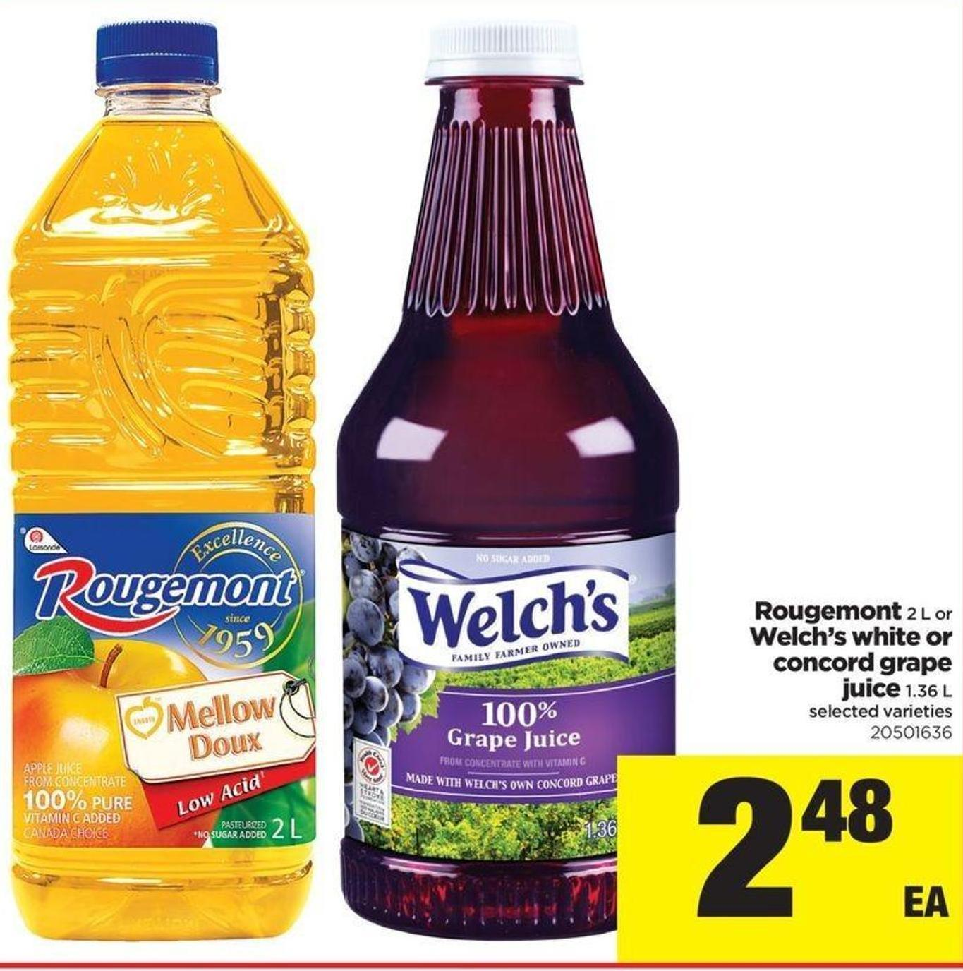 Rougemont 2 L Or Welch's White Or Concord Grape Juice 1.36 L