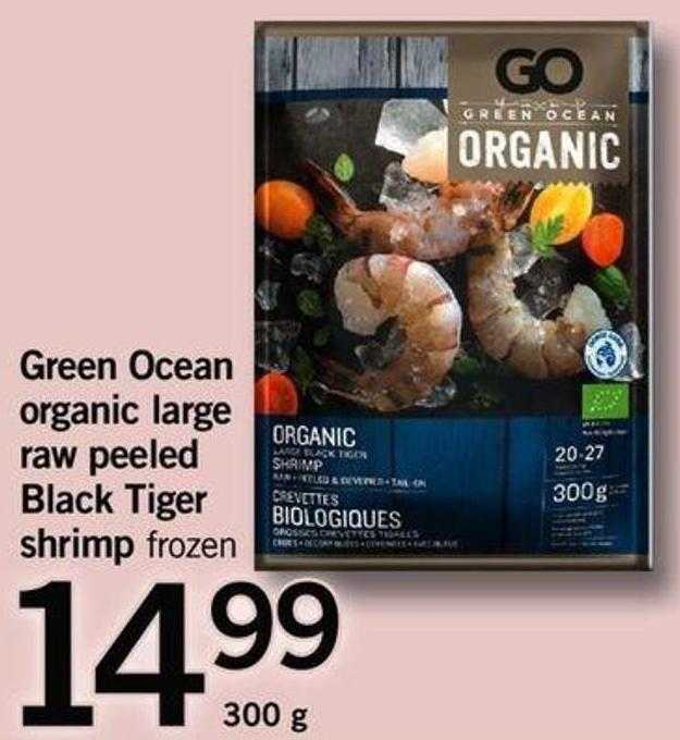 Green Ocean Organic Large Raw Peeled Black Tiger Shrimp - 300 G
