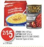 Stagg Chili (425g) - Lipton Soup (4's) or Knorr Selects Side Dishes