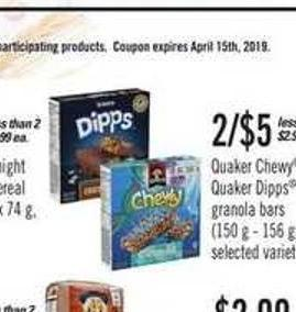 Quaker Chewy Or Quaker Dipps Granola Bars - 150 g - 156 g