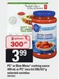 PC Or Blue Menu Cooking Sauce - 400 Ml Or PC Taco Kit - 286/427 G