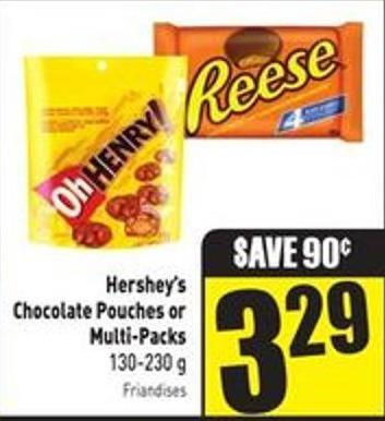 Hershey's Chocolate Pouches or Multi-packs 130-230 g