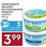 Compliments Balance Non-hydrogenated Margarine Selected 907 g - 5 Air Miles Bonus Miles