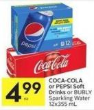 Coca-cola or Pepsi Soft Drinks or Bubly Sparkling Water