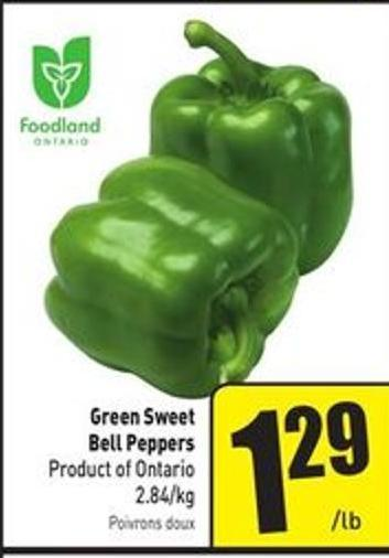 Green Sweet Bell Peppers Product of Ontario 2.84/kg
