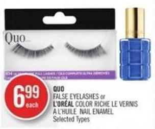 Quo False Eyelashes or L'oréal Color Riche Le Vernis A L'huile Nail Enamel