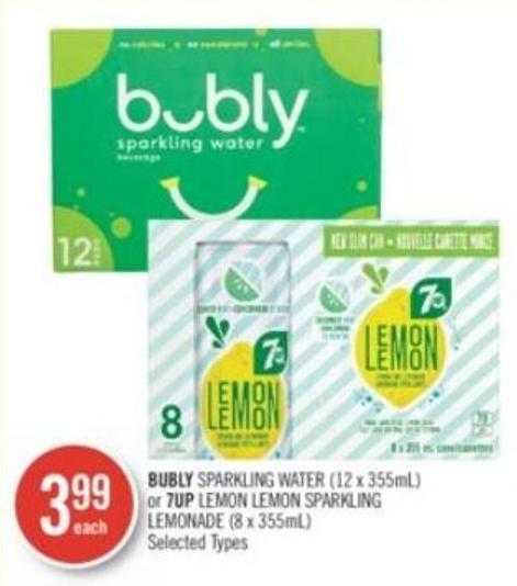 Bubly Sparkling Water (12 X 355ml) or 7up Lemon Lemon Sparkling Lemonade (8 X 355ml)