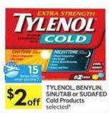 Tylenol - Benylin - Sinutab or Sudafed Cold Products - 15 Air Miles Bonus Miles