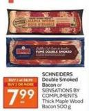 Schneiders Double Smoked Bacon or Sensations By Compliments Thick Maple Wood Bacon 500 g