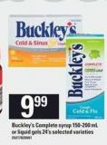 Buckley's Complete Syrup - 150-200 Ml Or Liquid Gels - 24's