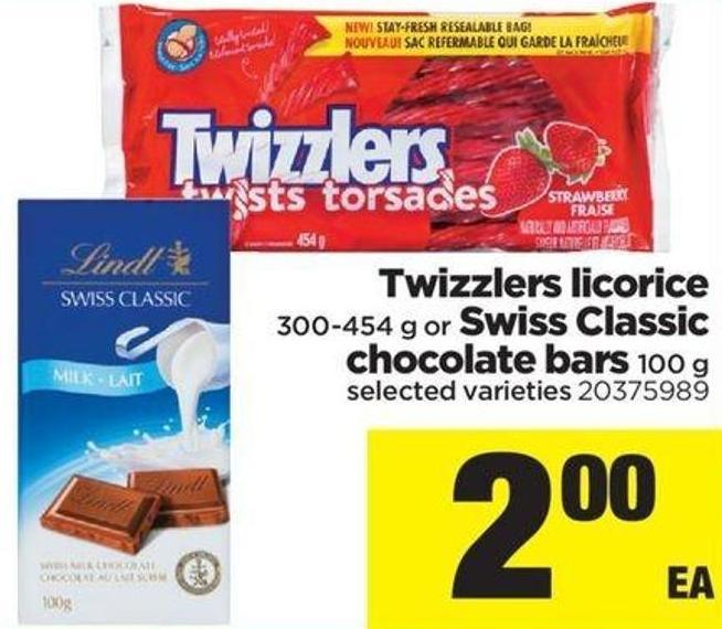 Twizzlers Licorice 300-454 G Or Swiss Classic Chocolate Bars 100 G
