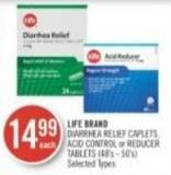 Life Brand Diarrhea Relief Caplets - Acid Control or Reducer Tablets (48's - 50's)