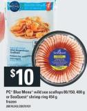 PC Blue Menu Wild Sea Scallops 80/150 - 400 G Or Seaquest Shrimp Ring 454 G Frozen