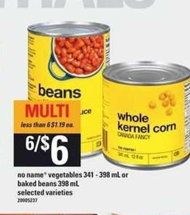 No Name Vegetables - 341-398 ml or Baked Beans - 398 ml