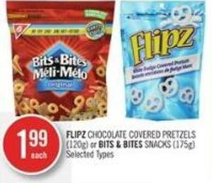 Flipz Chocolate Covered Pretzels (120g) or Bits & Bites Snacks (175g)