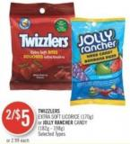 Twizzlers Extra Soft Licorice (170g) or Jolly Rancher Candy (182g - 198g)