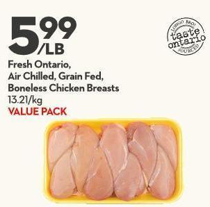 Fresh Ontario -  Air Chilled - Grain Fed -  Boneless Chicken Breasts 13.21/kg