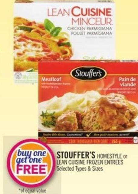 Stouffer's Homestyle or Lean Cuisine Frozen Entrees