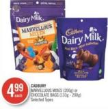 Cadbury Marvellous Mixes (200g) or Chocolate Bags (133g - 200g)