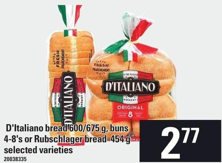D'italiano Bread 600/675 G - Buns 4/8's Or Rubschlager Bread 454 G