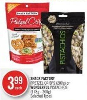 Snack Factory Pretzel Crisps (200g) or Wonderful Pistachios (178g - 200g)