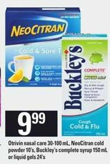 Otrivin Nasal Care - 30-100 Ml - Neocitran Cold Powder - 10's - Buckley's Complete Syrup - 150 Ml Or Liquid Gels - 24's