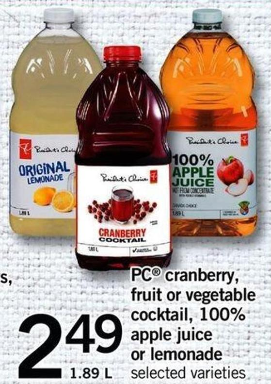 PC Cranberry - Fruit Or Vegetable Cocktail - 100% Apple Juice Or Lemonade - 1.89 L