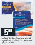 Seaquest Fish Fillets 400 G Frozen Or King Crab Flavoured Leg Style Pollock 454 G - Ready-to-eat