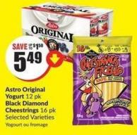 Astro Original Yogurt 12 Pk Black Diamond Cheestrings 16 Pk