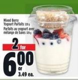 Mixed Berry Yogourt Parfaits 328 g Or 3.49 Ea.
