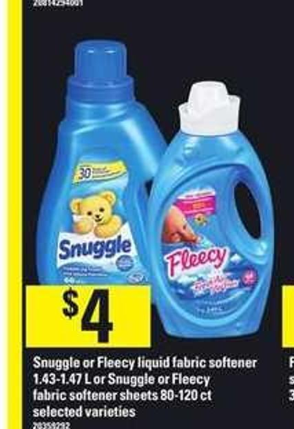 Snuggle Or Fleecy Liquid Fabric Softener 1.43-1.47 L Or Snuggle Or Fleecy Fabric Softener Sheets 80-120 Ct