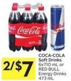 Coca-cola Soft Drinks 6x710 mL or Red Bull Energy Drinks 473 mL