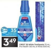 Crest 3D White Toothpaste 75 mL - Pro-health 130 mL or Rinse 500 mL - 35 Air Miles Bonus Miles