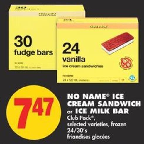 No Name Ice Cream Sandwich or Ice Milk Bar Club Pack - 24/30's