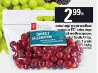 Extra Large Green Seedless Grapes Or PC Extra Large Red Seedless Grapes