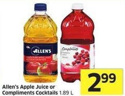 Allen's Apple Juice or Compliments Cocktails 1.89 L
